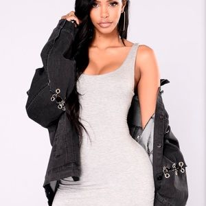Fashion Nova Black Denim Jacket with O rings